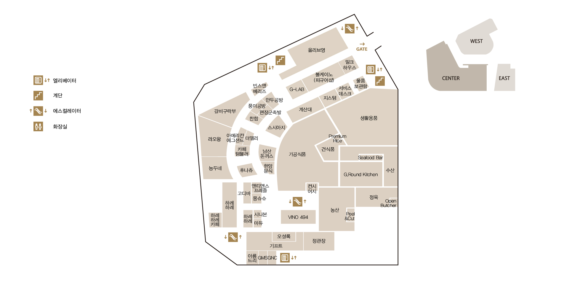 타임월드 센터 지하 2층 도면입니다.